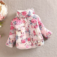Winter Kid Baby Girl Floral Stand Collar Long Sleeve Bow Coat Outerwear 2-6Y - CelebritystyleFashion.com.au online clothing shop australia