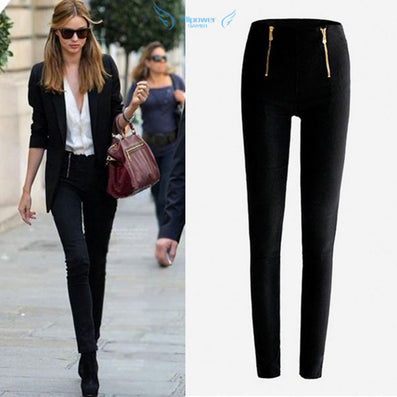 Women Lady Black\White Color Zip Pencil Pants High Waisted Slim Stretch Leggings Trousers Pants Plue size S-XL - CelebritystyleFashion.com.au online clothing shop australia