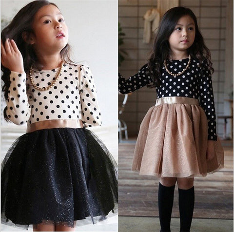 Autumn Winter 3-8 Years Baby Girls Clothing Kids Dresses For Girl Clothes Party Long Sleeve Polka Dot Princess Dress - CelebritystyleFashion.com.au online clothing shop australia