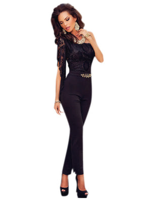 autumn Asymmetric One Sleeve Lace Bodice Jumpsuit LC60694 body suits rompers overall for women on sale - CelebritystyleFashion.com.au online clothing shop australia