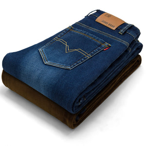 Mens Winter Stretch Thicken Jeans Warm Fleece High Quality Denim Biker Jean Pants Trousers Size 28-42 - CelebritystyleFashion.com.au online clothing shop australia