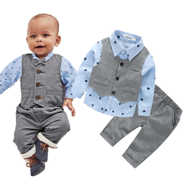7c62eeb44 baby boys clothing set plaid rompers with bowtie + demin pants ...