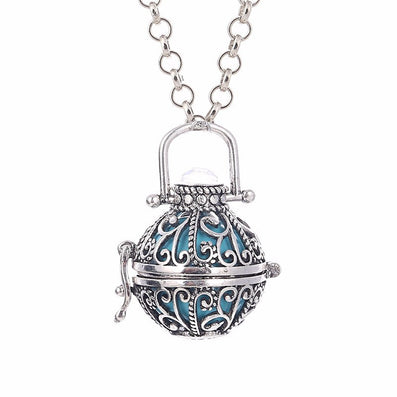 Fashion Jewelry Women Angel Ball Metal Long Chain Necklace Antique Silver Plated Crystal Stone Cage for Pregnant Women and Baby - CelebritystyleFashion.com.au online clothing shop australia