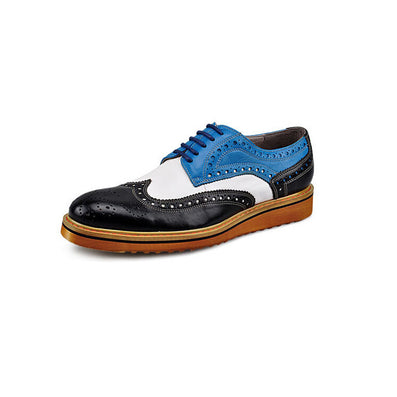 Men's Casual Patent Full Grain Leather Oxfords Fulll Brogue Pointed Toe Fashion Mixed Color Oxford Shoe - CelebritystyleFashion.com.au online clothing shop australia