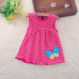 new Cute Baby Girl Dress Cotton Dot Striped Slip Dress pear flower Children Kids Clothing 0-18M dress - CelebritystyleFashion.com.au online clothing shop australia