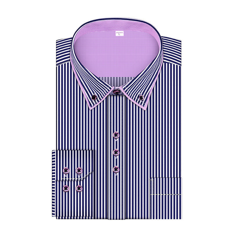 SLA 01 Blue / US Size L2016 New Fashion Stripes Men's Business Casual Long Sleeved Shirts Male Dress Shirt Double Collar Shirt High Quality