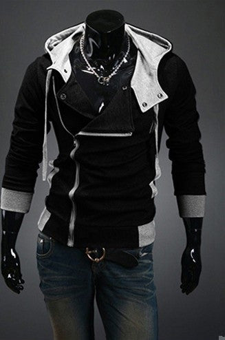 black / XXXLAutumn & Winter Men Brand Fashion Casual Slim Cardigan Assassin Creed Hoodies Sweatshirt Outerwear Jackets