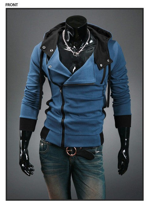 blue / XXXLAutumn & Winter Men Brand Fashion Casual Slim Cardigan Assassin Creed Hoodies Sweatshirt Outerwear Jackets