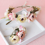 2pc/set Women Wedding Rose Flower Wreath headband and wrist Kids Party flower crown and Bracelet with Ribbon Adjustable garlands - CelebritystyleFashion.com.au online clothing shop australia