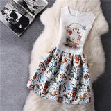 Cartoon Castle Summer Sleeveless Girls Print Dress Knee Length Princess A-Line Dress Clothes For Kids 6 to 12 years Old Kids - CelebritystyleFashion.com.au online clothing shop australia