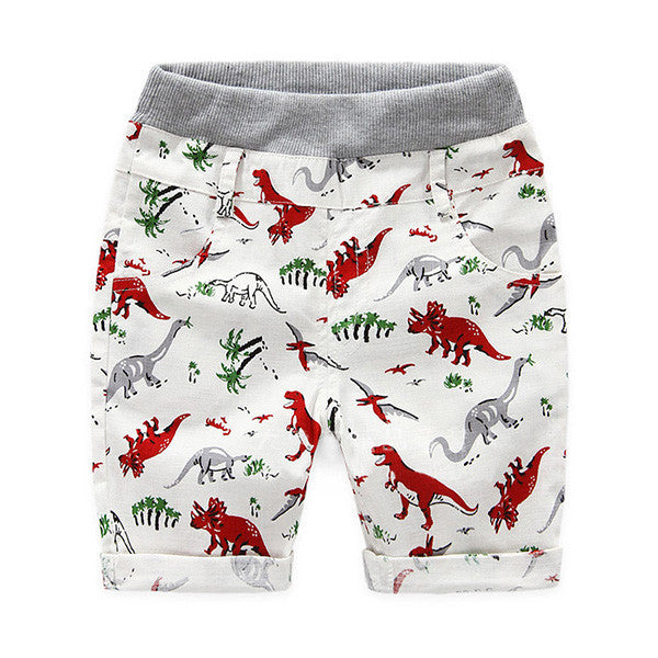 Red / 2TLoose Boys Shorts Summer Children Beach Wear Dinosaur Pattern Boys Bottom Pants 2~7 Ages Kids Boys Character Sports Shorts CI031