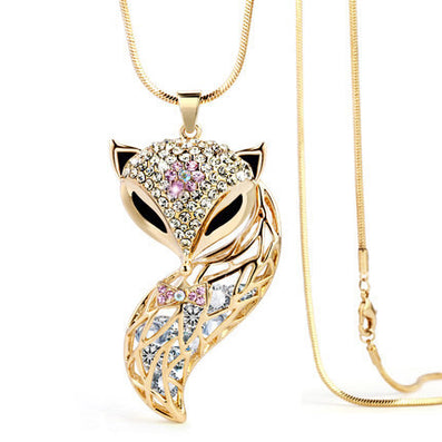 New Arrival Fox Pendant Necklace Trendy Zinc Alloy Animal Snake Chain Long Necklace Rhinestone Necklaces For Women Jewelry - CelebritystyleFashion.com.au online clothing shop australia