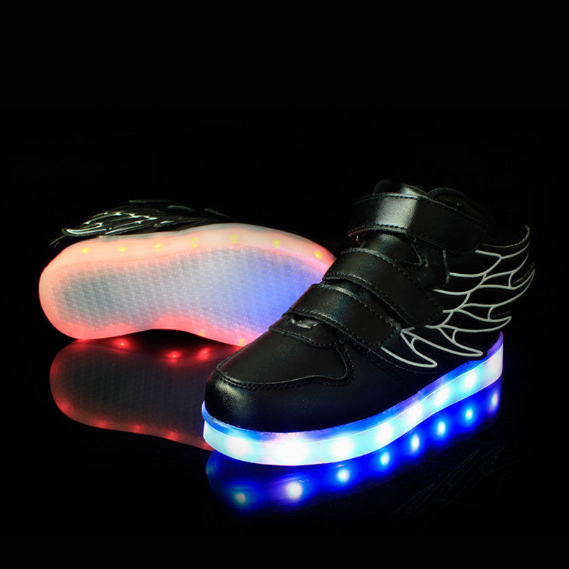 Black / 9.525-37 Size/ USB Charging Basket Led Children Shoes With Light Up Kids Casual Boys&Girls Luminous Sneakers Glowing Shoe enfant