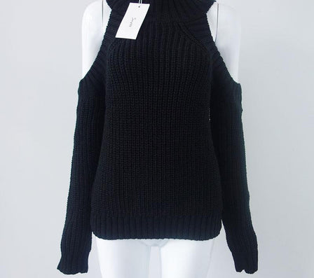 turtleneck off shoulder knitted sweater women autumn Fashion tricot pullover jumpers Pull femme oversized capes - CelebritystyleFashion.com.au online clothing shop australia
