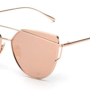 RunBird Mirror Flat Lense Women Cat Eye Sunglasses Classic Brand Designer Twin-Beams Rose Gold Frame Sun Glasses for Women M195 - CelebritystyleFashion.com.au online clothing shop australia