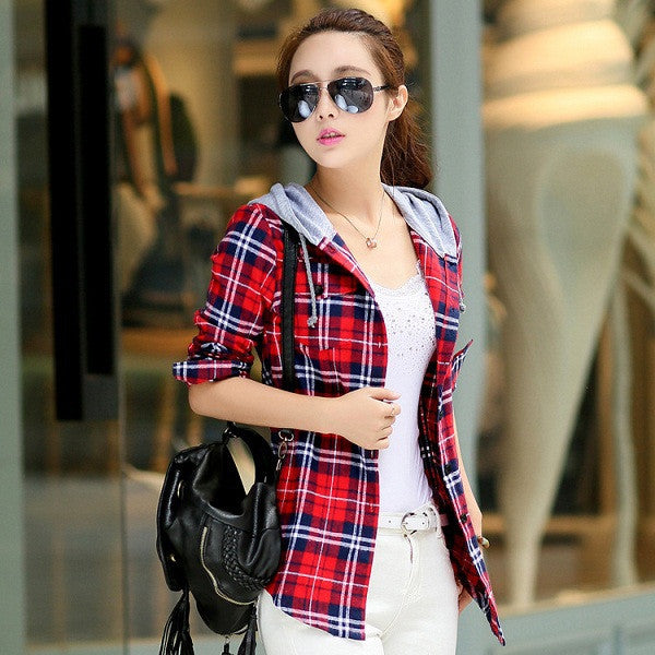 861 1 / MAutumn Cotton Long Sleeve Red Checked Plaid Shirt Women Hoodie Casual Fit Blouse Plus Size Sweatshirt