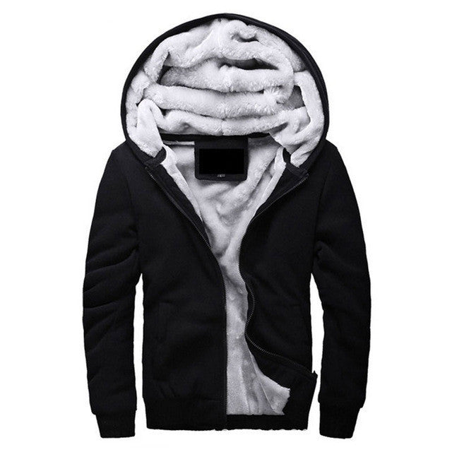 Black / MBrand Clothing Mens Hooded Hoodies Men Sweatshirt Fashion Hoody Thick Warm Hoodie Cotton Slim Male Coat Outerwear Plus Size