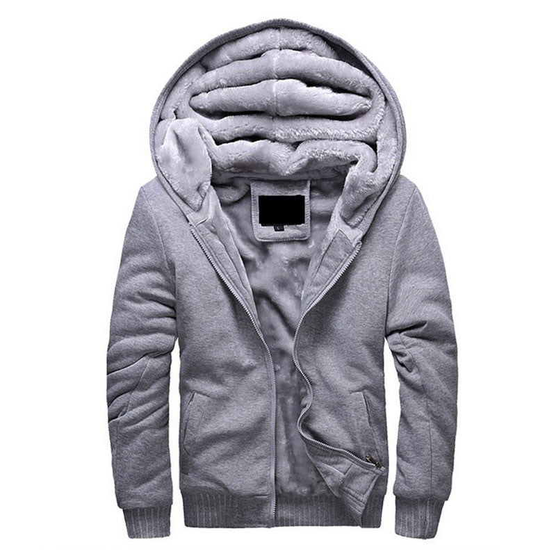 Gray / LBrand Clothing Mens Hooded Hoodies Men Sweatshirt Fashion Hoody Thick Warm Hoodie Cotton Slim Male Coat Outerwear Plus Size
