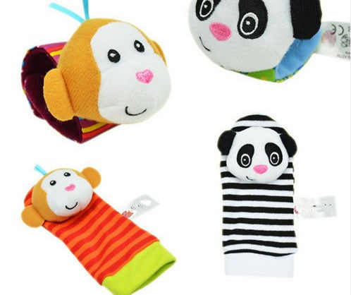4PCS style C4Pcs(2Pcs Socks+2Pcs Wrists) New Infant Baby Kids Sock And Wrist Rattles Cute Intellectual Developmental Toys Animal