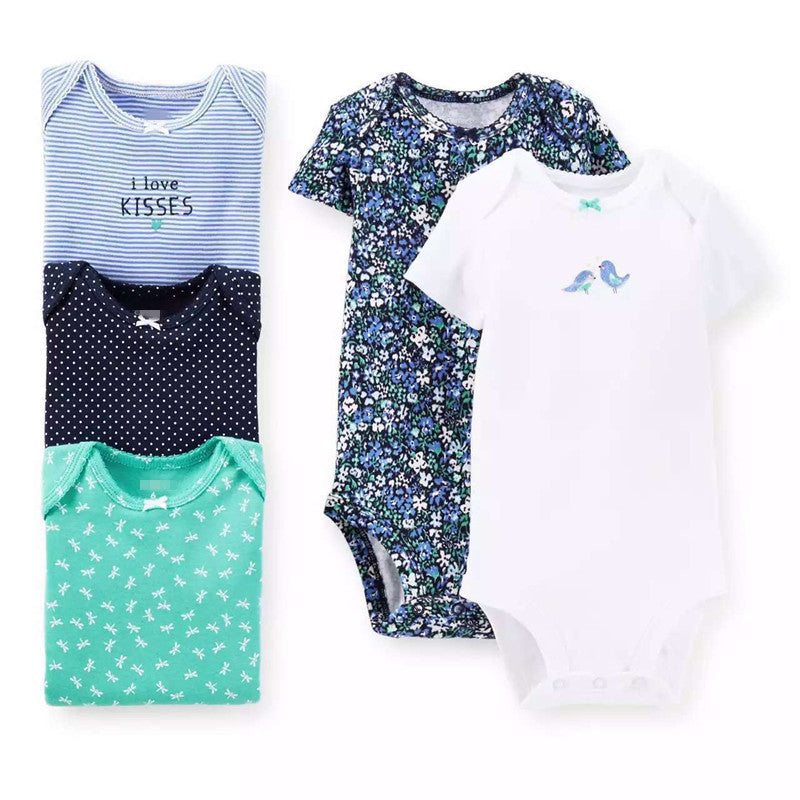 bird / 4-6 months5 Pieces/Lot Baby Bodysuits Sling Sleeveless Short Sleeved Cotton Baby Jumpsuit Baby Clothes Dot Print Baby Girls Bodysuits V49