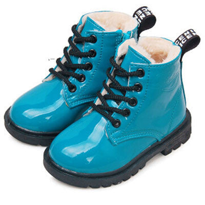 children martin boots girls boys winter shoes kids rain boots PU Leather Kids Sneakersblue 1CELEBRITYSTYLEFASHION