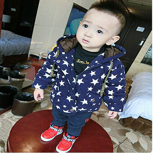 Belababy Baby Boys Winter Coat Fashion Children Long Sleeve Hoodies Jacket Kids girls Autumn Star Pattern Warm Outerwear - CelebritystyleFashion.com.au online clothing shop australia
