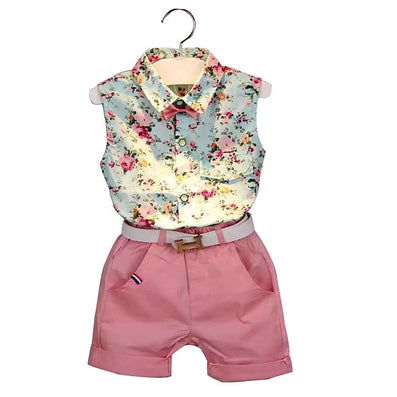 girls clothes summer girls clothing sets kids clothes Floral girl shirts+shorts clothing sets 3-8 year - CelebritystyleFashion.com.au online clothing shop australia