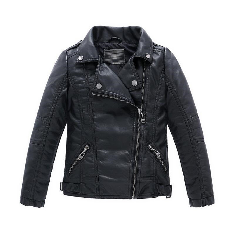 62631435948c Teenager Girl Boys Leather Jacket Boys Casual Black Solid Children ...