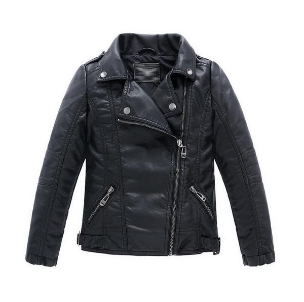 d14c62439 Teenager Girl Boys Leather Jacket Boys Casual Black Solid Children  Outerwear Kids Girls Coats Spring Leather