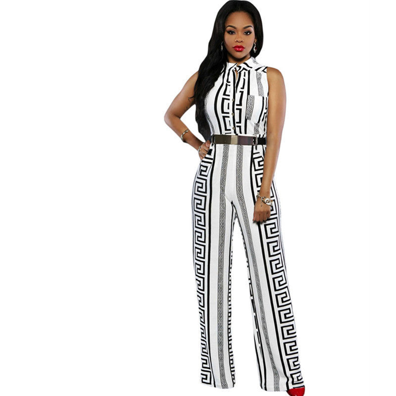 8adf325ecb5 Fashion Long Jumpsuits For Women Print Gold Belted Rompers Womens Jumpsuit  Summer Overalls Playsuits 64021 Macacao