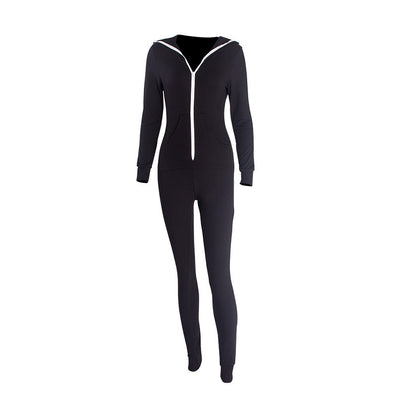 Casual Women One Piece Outfits Jumpsuits Long Sleeve Bodycon Front Zipper Hooded Long Pants Sexy Black/Red Rompers Playsuit - CelebritystyleFashion.com.au online clothing shop australia
