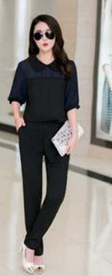 Large Size 3XL 4XL Summer Jumpsuits One Piece Pants Lapel Elegant Salopette Black Blue Long Trousers - CelebritystyleFashion.com.au online clothing shop australia
