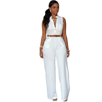 Fashion Big Women Sleeveless Maxi Overalls Belted Wide Leg Jumpsuit 7 Colors S-2XL Plus Size macacao long pant LC60932 - CelebritystyleFashion.com.au online clothing shop australia