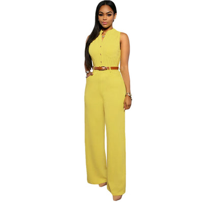 d61d4dade63 Fashion Big Women Sleeveless Maxi Overalls Belted Wide Leg Jumpsuit 7  Colors S-2XL Plus