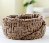 knitted scarf women Fashion Pure neck Woolen Scarf Autumn Winter Scarf Women Warm shawls 2 Circle Cable Knit Long Ring Scarf - CelebritystyleFashion.com.au online clothing shop australia