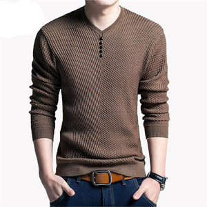 Solid Color Pullover Men V Neck Sweater Men Long Sleeve Shirt Mens Sweaters Wool Casual Dress Brand Cashmere Knitwear Pull Homme - CelebritystyleFashion.com.au online clothing shop australia