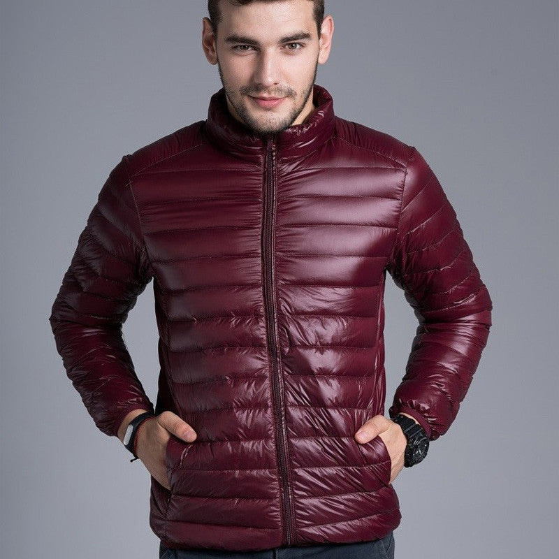 5ad9ebb6e81 Men casual warm Jackets solid thin breathable Winter Jacket Mens outwear Coat  Lightweight parka Plus size