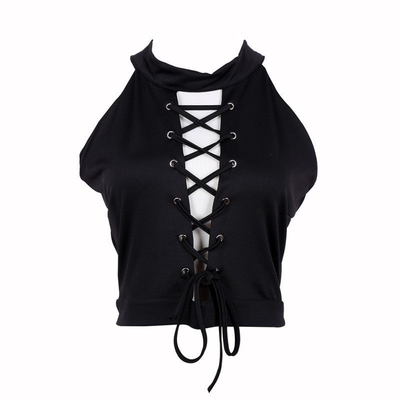 2b696910c9c Lace Up Tie Front Stretch Crop Tops Sexy Women Bandage Shirt Seeveless  Womens Halter Ladies Shirts