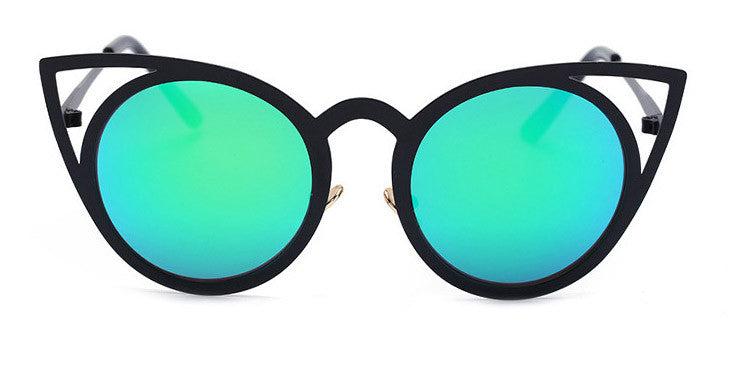 12BOUTIQUE Newest Fashion Women Round Cat eye Sunglasses UV400 High Quality Metal Frame Colorful Glasses Oculos De Sol