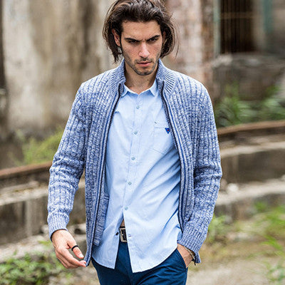 Cotton Light blue / Lcardigans men sweaters new knitwear zipper cardigan Top quality brand clothing fashion male christmas coat