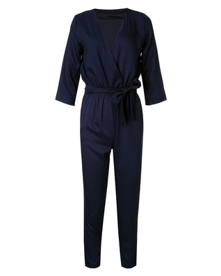 Women Jumpsuits Spring Autumn Bodysuit Half Sleeve V Neck Casual Elegant Ladies Long Office OL Rompers Overalls - CelebritystyleFashion.com.au online clothing shop australia