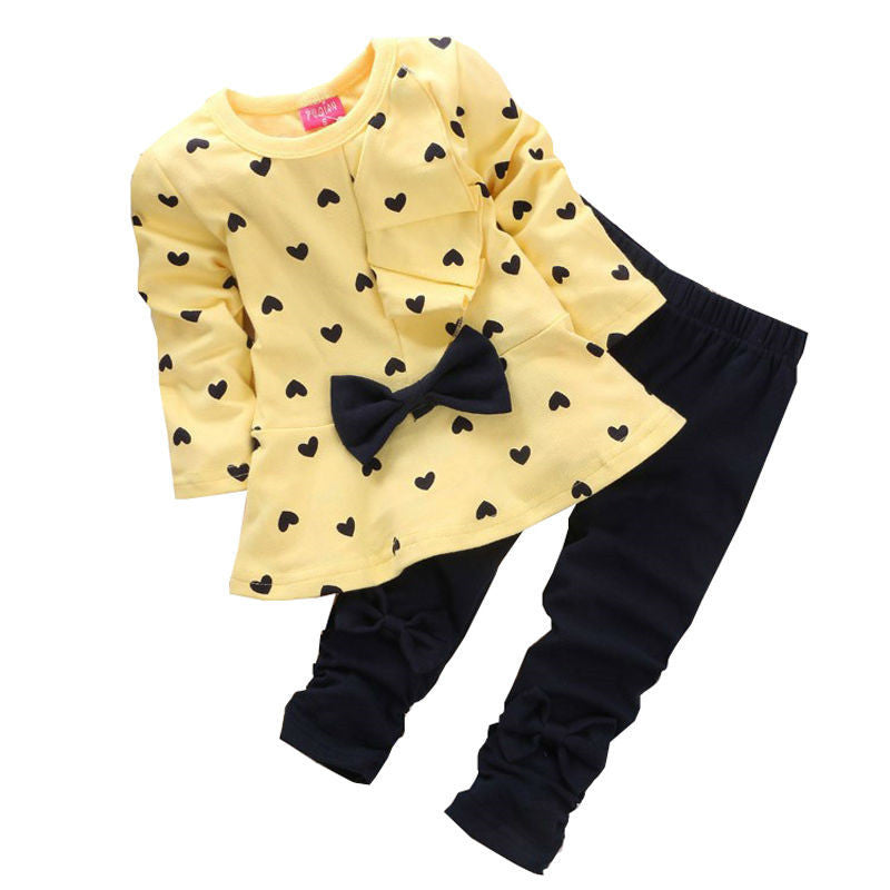Gold / 4-6 monthsChildren Baby Girl Heart-shaped Bow t shirt+pants 2PCS Clothes Set Suit Top Sweater clothing set