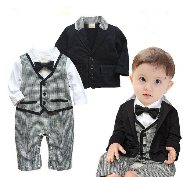 90cdcbdb7b16 gentleman baby boy clothes white coat+ striped rompers clothing set newborn  wedding suit