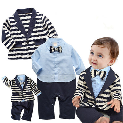 Gentleman Baby Boy Clothes White Coat Striped Rompers Clothing Set
