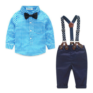 Baby Boy Clothes Spring New Brand Gentleman Plaid Clothing Suit For Newborn Baby Bow Tie Shirt + Suspender Trousers FF032 - CelebritystyleFashion.com.au online clothing shop australia
