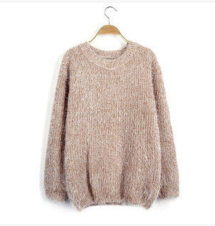 Women Fashion Autumn Winter Warm Mohair O-Neck Women Pullover Long Sleeve Casual Loose Sweater Knitted Tops - CelebritystyleFashion.com.au online clothing shop australia