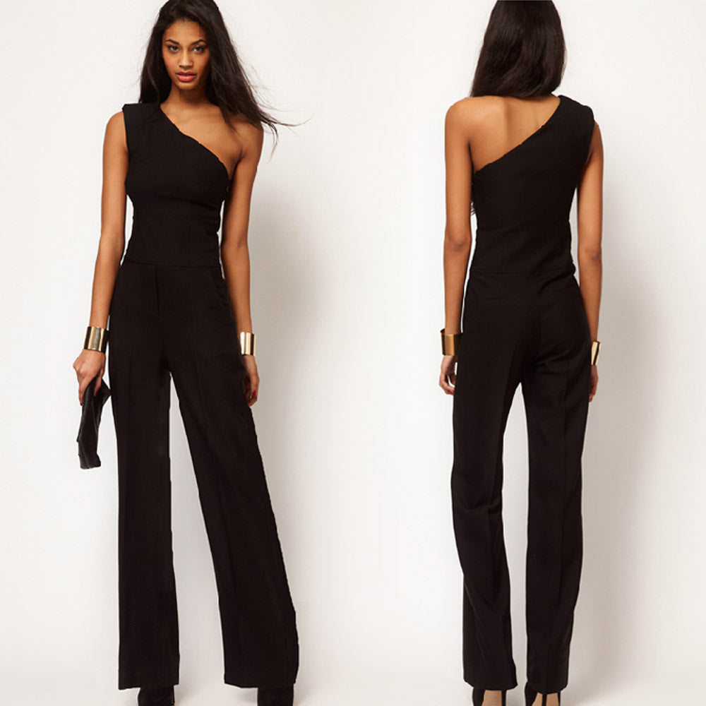 55041d98aa2 Sexy Women s One Shoulder Jumpsuit women s overall fashion High Waist Solid  Chiffon jumpsuit pants coveralls black