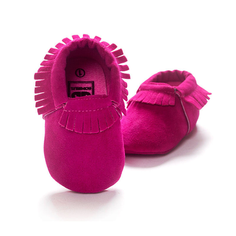 New PU Suede Leather Newborn Baby Boy Girl Baby Moccasins Soft Moccs Shoes Bebe Fringe Soft Soled Non-slip Footwear Crib ShoeModel