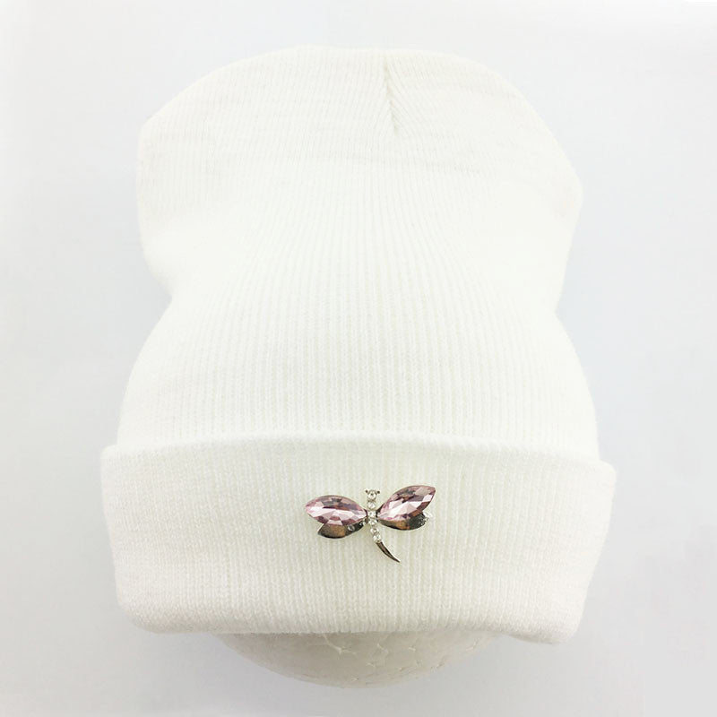 Dragonfly Crystal Accessory Beanie Hat For Women a839e698e200