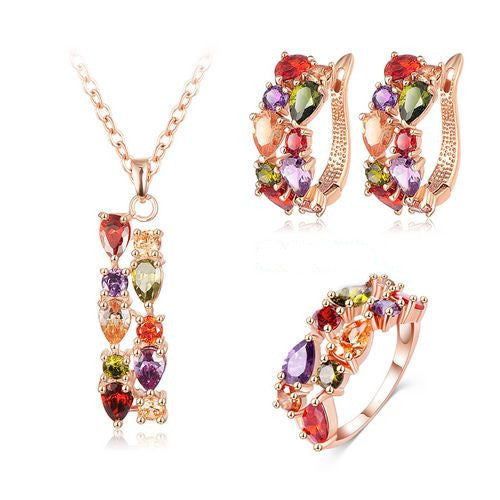 5New Top Rose Gold Plate Flower Jewelry Set Multicolor Cubic Zircon Pendant/Earrings/Ring Women Wedding Jewelry Sets